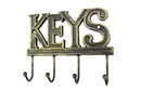 Handcrafted Model Ships K-0345-Gold Rustic Gold Cast Iron Keys Hooks 8&Quot;