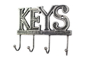 Handcrafted Model Ships K-0345-Silver Rustic Silver Cast Iron Keys Hooks 8&Quot;
