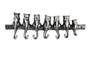 Handcrafted Model Ships K-0458A-Silver Rustic Silver Cast Iron Cat Wall Hooks 13&Quot;