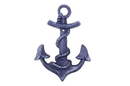 Handcrafted Model Ships K-0571A-Solid-Dark-Blue Rustic Dark Blue Cast Iron Anchor Hook 8&Quot;