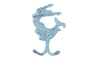 Handcrafted Model Ships K-0572A-Solid-Light-Blue Rustic Light Blue Cast Iron Mermaid Key Hook 6&Quot;