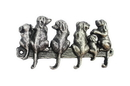 Handcrafted Model Ships K-0630-Silver Rustic Silver Cast Iron Dog Wall Hooks 8&Quot;