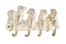 Handcrafted Model Ships K-0630-W Whitewashed Cast Iron Dog Wall Hooks 8&Quot;