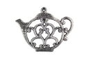 Handcrafted Model Ships K-0705-Silver Rustic Silver Cast Iron Round Teapot Trivet 8&Quot;