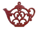 Handcrafted Model Ships K-0705-WW-Red Rustic Red Whitewashed Cast Iron Round Teapot Trivet 8&Quot;