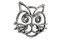 Handcrafted Model Ships K-0707-Silver Rustic Silver Cast Iron Cat Trivet 7&Quot;