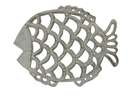 Handcrafted Model Ships K-0719-AG Aged White Cast Iron Big Fish Trivet 8