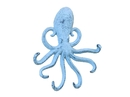 Handcrafted Model Ships K-0754-blue Rustic Dark Blue Whitewashed Cast Iron Wall Mounted Decorative Octopus Hooks 7