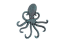 Handcrafted Model Ships K-0754-Seaworn Seaworn Blue Cast Iron Wall Mounted Decorative Octopus Hooks 7&Quot;