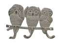 Handcrafted Model Ships K-0808-AG Aged White Cast Iron Owl Wall Hooks 9