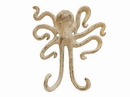 Handcrafted Model Ships K-0878-AG Aged White Cast Iron Decorative Wall Mounted Octopus Hooks 6