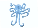 Handcrafted Model Ships K-0878-blue Rustic Dark Blue Whitewashed Cast Iron Decorative Wall Mounted Octopus Hooks 6