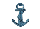 Handcrafted Model Ships K-1038-light-blue Rustic Light Blue Whitewashed Cast Iron Anchor Bottle Opener 5