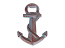 Handcrafted Model Ships K-1038-red Rustic Red Whitewashed Cast Iron Anchor Bottle Opener 5