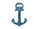 Handcrafted Model Ships K-1086A-dark-blue Rustic Dark Blue Whitewashed Deluxe Cast Iron Anchor Bottle Opener 6