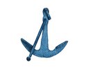 Handcrafted Model Ships K-1089-light-blue Rustic Light Blue Whitewashed Cast Iron Anchor Paperweight 5