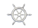 Handcrafted Model Ships K-1293-W Whitewashed Cast Iron Ship Wheel Decorative Paperweight 4
