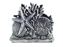 Handcrafted Model Ships K-1408-silver Antique Silver Cast Iron Seashell Napkin Holder 7