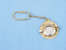 """Handcrafted Model Ships K-239 Solid Brass Porthole Mirror Key Chain 5"""""""