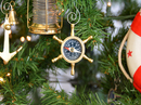 Handcrafted Model Ships K-245-XMASS Brass Ship's Wheel Compass Christmas Tree Ornament