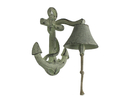 Handcrafted Model Ships K-4004-white Rustic Whitewashed Cast Iron Wall Mounted Anchor Bell 8