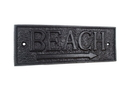 Handcrafted Model Ships K-49003-Black Rustic Black Cast Iron Beach Sign 9&Quot;