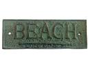 Handcrafted Model Ships K-49003-bronze Antique Seaworn Bronze Cast Iron Beach Sign 10