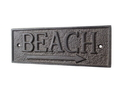 Handcrafted Model Ships K-49003-Cast-Iron Cast Iron Beach Sign 9&Quot;