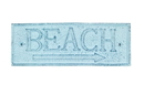 Handcrafted Model Ships K-49003-Dark-Blue Rustic Dark Blue Whitewashed Cast Iron Beach Sign 9&Quot;