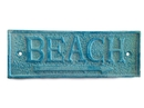 Handcrafted Model Ships K-49003-lightblue Light Blue Whitewashed Cast Iron Beach Sign 10