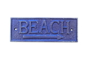 Handcrafted Model Ships K-49003-Solid-Dark-Blue Rustic Dark Blue Cast Iron Beach Sign 9&Quot;