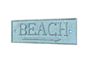 Handcrafted Model Ships K-49003-Solid-Light-Blue Rustic Light Blue Cast Iron Beach Sign 9&Quot;