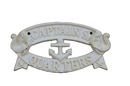 Handcrafted Model Ships K-49005-AW Antique White Cast Iron Captains Quarters Sign 9