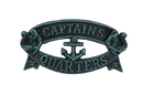 Handcrafted Model Ships K-49005-seaworn Seaworn Blue Cast Iron Captains Quarters Sign 9