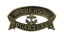 Handcrafted Model Ships k-49005B-gold Antique Gold Cast Iron Crews Quarters Sign 9