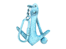 Handcrafted Model Ships K-49015B-light-blue Light Blue Whitewashed Cast Iron Anchor Key Chain 5