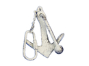 Handcrafted Model Ships K-49015B-W Whitewashed Cast Iron Anchor Key Chain 5