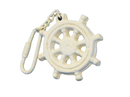 Handcrafted Model Ships K-49015C-AW Antique White Cast Iron Ship Wheel Key Chain 5