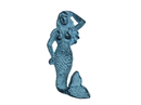 Handcrafted Model Ships K-516-light-blue Rustic Light Blue Whitewashed Cast Iron Mermaid Hook 6