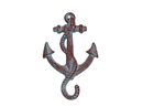 Handcrafted Model Ships K-652-red Rustic Red Whitewashed Cast Iron Anchor Hook 5