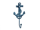 Handcrafted Model Ships K-665-dark-blue Rustic Dark Blue Whitewashed Cast Iron Anchor Hook 7