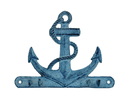 Handcrafted Model Ships K-717-dark-blue Rustic Dark Blue Whitewashed Cast Iron Anchor with Hooks 8