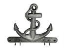 Handcrafted Model Ships K-717-silver Rustic Silver Cast Iron Anchor with Hooks 8