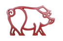 Handcrafted Model Ships K-9012-L-Red Rustic Red Cast Iron Pig Shaped Trivet 8&Quot;