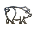 Handcrafted Model Ships K-9012-L-Silver Rustic Silver Cast Iron Pig Shaped Trivet 8&Quot;
