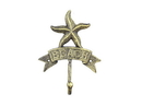 Handcrafted Model Ships K-9046-Gold Rustic Gold Cast Iron Starfish Beach Hook 8&Quot;