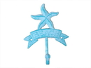 Handcrafted Model Ships K-9046-Light-Blue Rustic Light Blue Whitewashed Cast Iron Starfish Beach Hook 8&Quot;