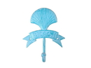Handcrafted Model Ships K-9047-Light-Blue Rustic Light Blue Whitewashed Cast Iron Seashell Beach Hook 8&Quot;
