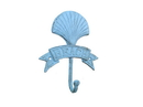 Handcrafted Model Ships K-9047-Solid-Light-Blue Rustic Light Blue Cast Iron Seashell Beach Hook 8&Quot;