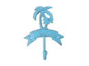 Handcrafted Model Ships K-9048-Solid-Light-Blue Rustic Light Blue Cast Iron Palm Tree Beach Hook 8&Quot;